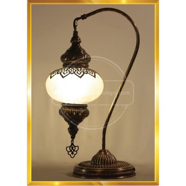 Handmade Moon Shape Turkish Moroccan Mosaic Glass Table Desk Bedside Lamp Light Bronze Base Unique Table Lamp Room HND HANDICRAFT