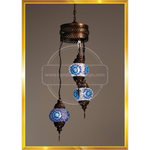 3 LÜ SET NO2 Turkish Moroccan Mosaic Swag Plug in Chandelier Light Ceiling Hanging Lamp HND HANDICRAFT