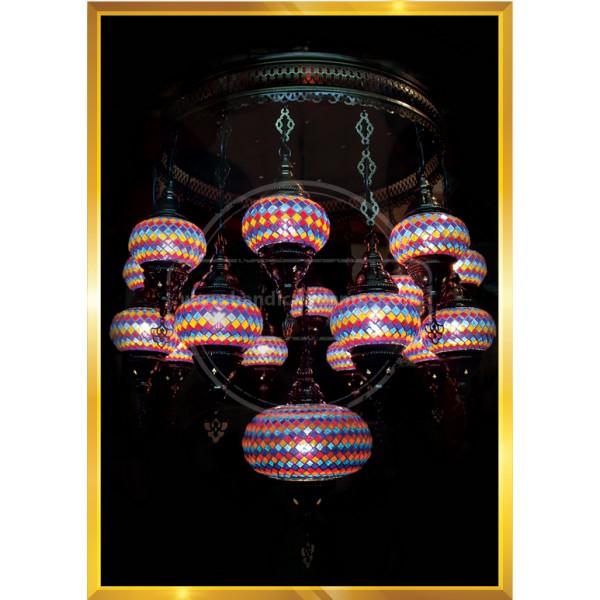 17 Lİ SET Turkish Moroccan Mosaic Swag Plug in Chandelier Light Ceiling Hanging Lamp HND HANDICRAFT