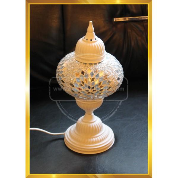 Handmade Turkish Moroccan Mosaic Glass Table Desk Bedside Lamp Light White HND HANDICRAFT