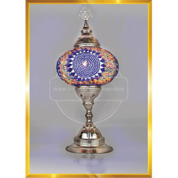 Handmade Turkish Moroccan Mosaic Glass Table Desk Bedside Lamp Light Nickel HND HANDICRAFT