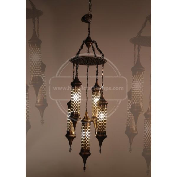 5 Globe, Mosaic Chandelier, Tiffany Style Glass HND HANDICRAFT