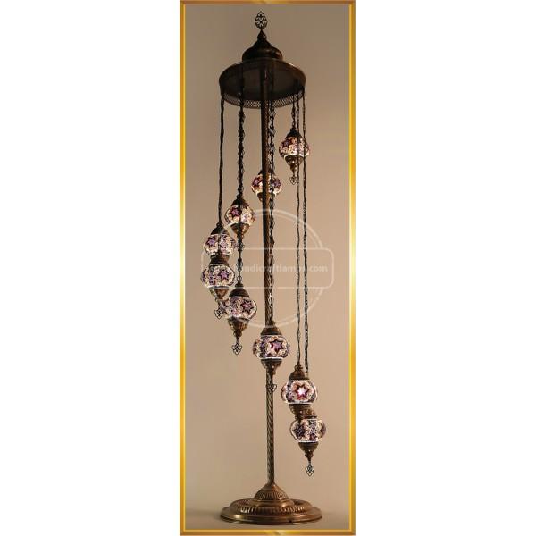 Turkish Moroccan Mosaic Bohemian Boho Tiffany Multicolor Mood Floor Lamp Light, 9 Big Globes HND HANDICRAFT