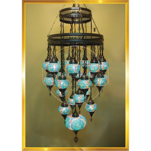 Turkish Moroccan Mosaic Swag Plug in Chandelier Light Ceiling Hanging Lamp HND HANDICRAFT
