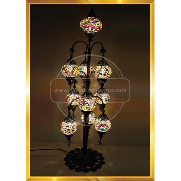 Turkish Moroccan Mosaic Bohemian Boho Tiffany Multicolor Mood Floor Lamp Light, 9+1 Big Globes HND HANDICRAFT