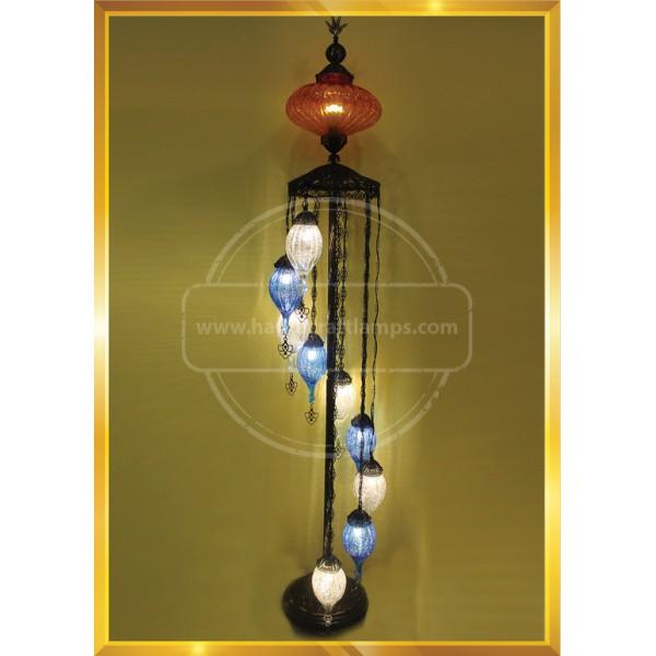 Turkish Moroccan Mosaic Bohemian Boho Tiffany Multicolor Mood Floor Lamp Light, 10 Big Globes HND HANDICRAFT