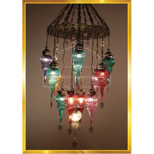 13 Globe Laser Cut Handmade, Authentic, Mosaic Chandelier, Tiffany Style Glass, Moroccan/Ottoman Style Night Lights HND HANDICRAFT