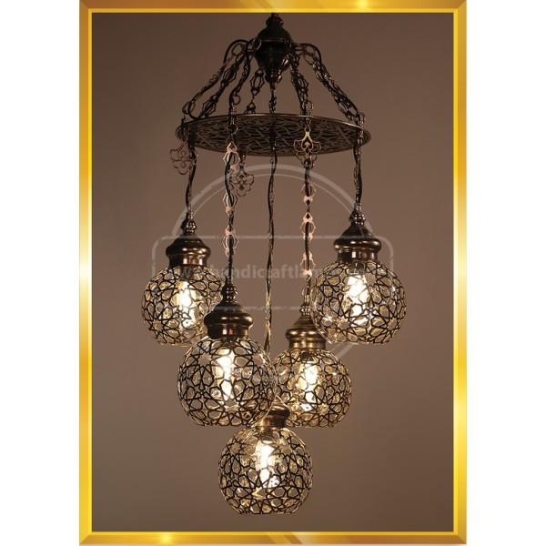 5 Globe Laser Cut Handmade, Authentic, Mosaic Chandelier, Tiffany Style Glass, Moroccan/Ottoman Style Night Lights HND HANDICRAFT