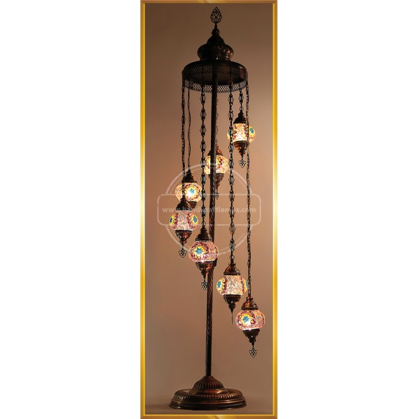 Turkish Moroccan Mosaic Bohemian Boho Tiffany Multicolor Mood Floor Lamp Light, 7 Big Globes HND HANDICRAFT