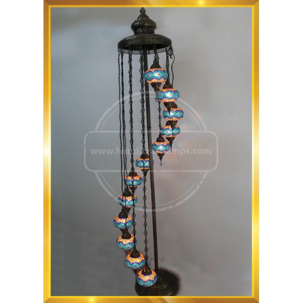 Turkish Moroccan Mosaic Bohemian Boho Tiffany Multicolor Mood Floor Lamp Light, 12 Big Globes HND HANDICRAFT